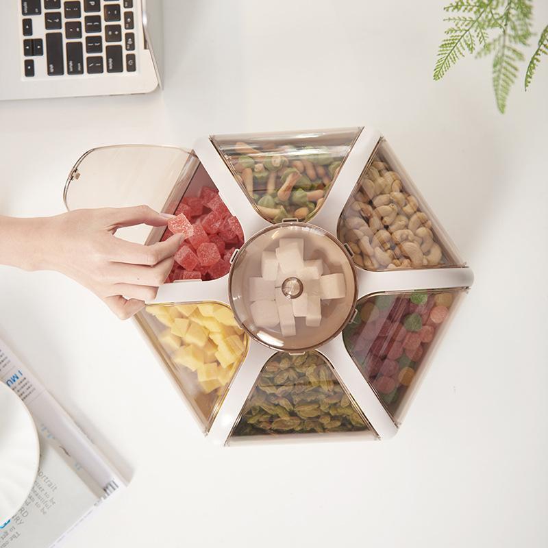 Bandeja de sirviendo de bocadillo de plástico 6-compartimento Sirviendo plato con tapa para tazones a prueba de humedad para galletas caramelos