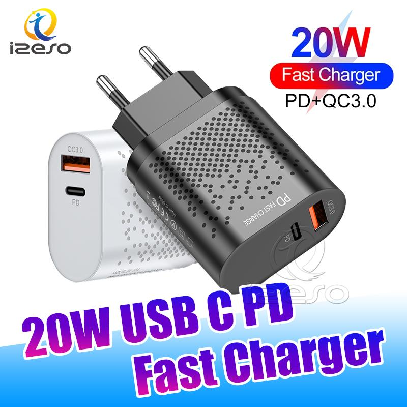 QC3.0 PD Fast Charger 20W Type C USB Quick Charging Adapter Dual Ports Phone Wall Chargers for iPhone 12 Pro Max izeso