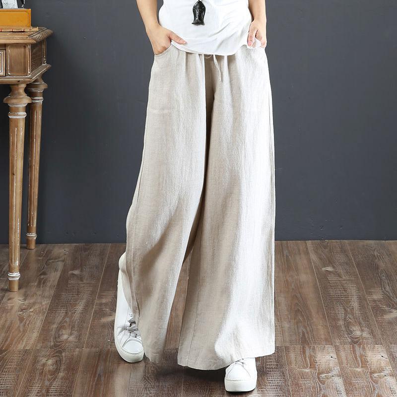 FJE Yeni Bahar Yaz Kadın Pantolon Artı Boyutu Yüksek Bel Gevşek Katı Pamuk Keten Geniş Bacak Pantolon Kadın Rahat Pantolon Büyük LJ201130