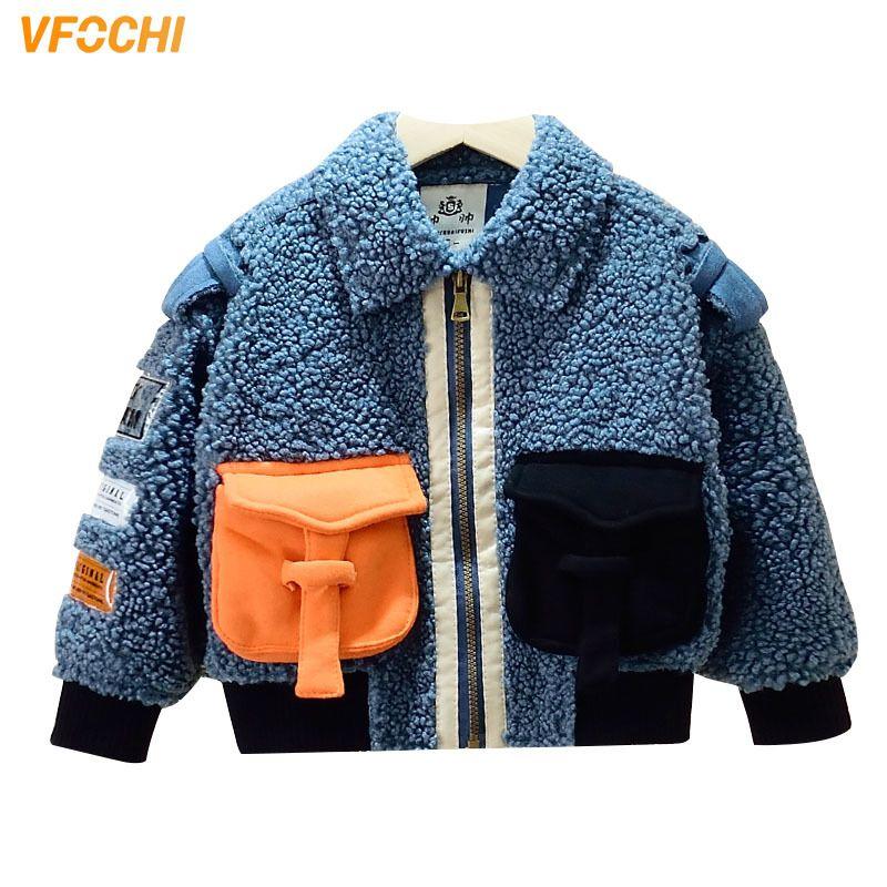 Vfochi nueva chaqueta de moda otoño invierno cálido niños a prueba de viento niños ropa de lana abrigo ropa exterior 201110