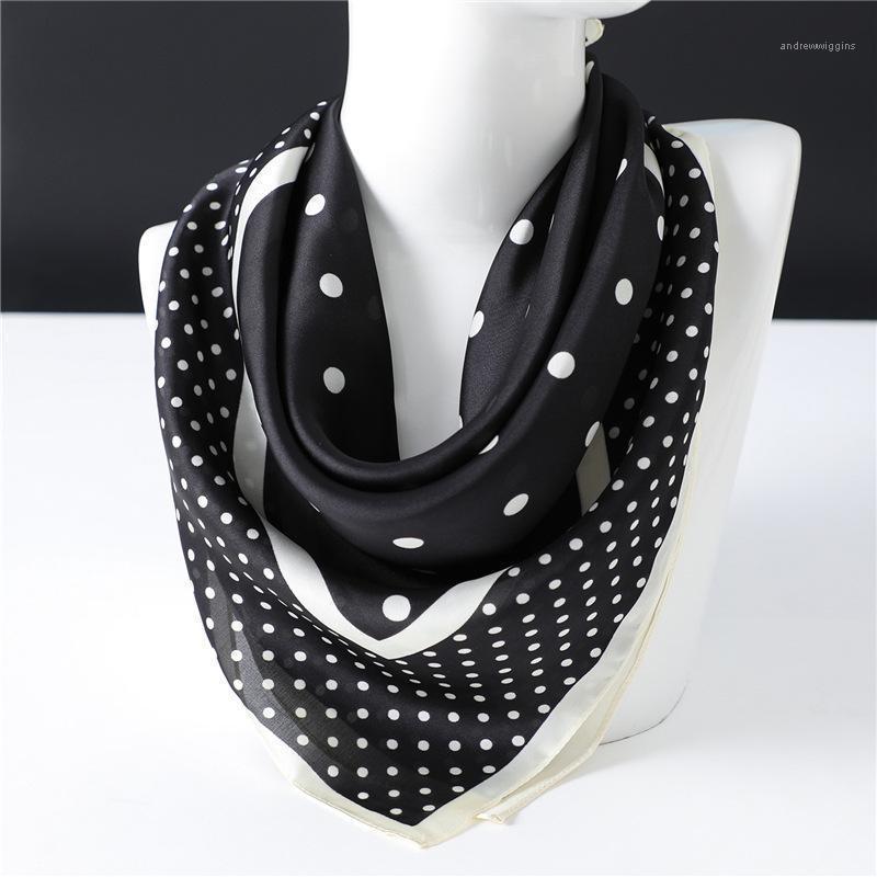 Châles 2021 Fête Soik carré Filfe Femmes Noir Blanc Blanc Polka Polka Dot et sac de sac Écharpes Cravate Cheveux Bandanas Hijab 70 * 70cm1