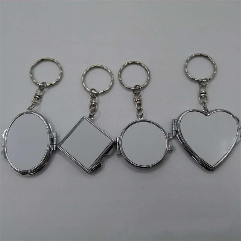 2 face maquiagem de espelho chave sublimação coração em branco rodada em forma de espelhos cosméticos compactos fivela chave diy mini presente requintado 3 2hf m2