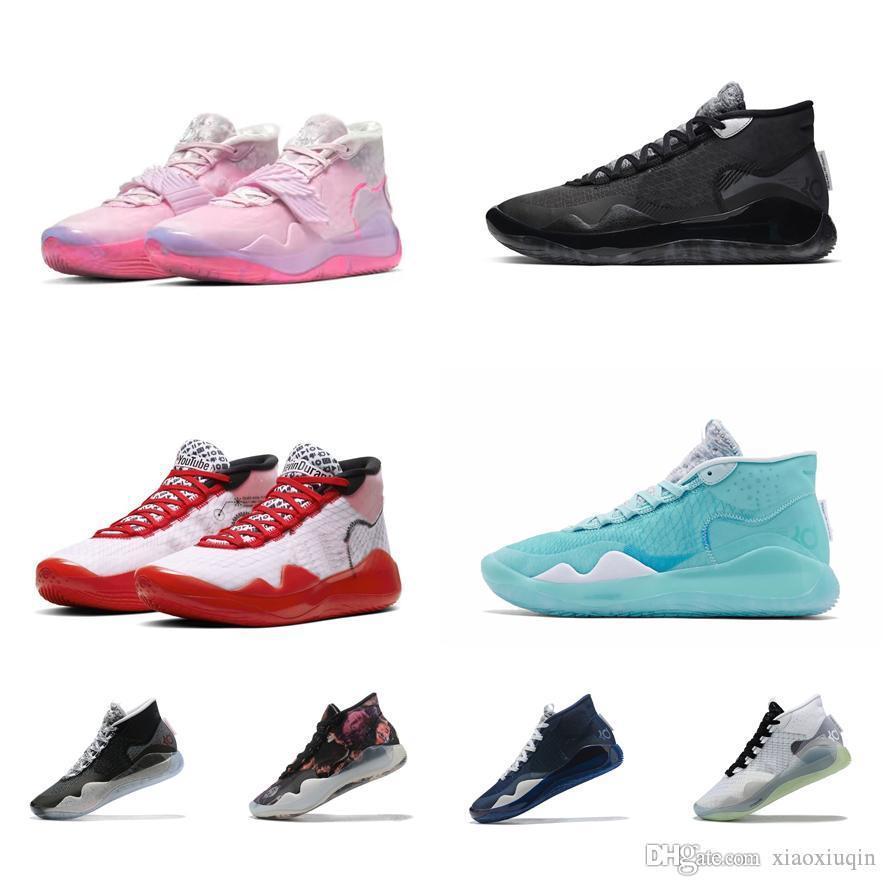 Mens Kd 12 di pallacanestro Scarpe in vendita zia Pearl Rosa Blu Gaze Antracite Instagram Verde Kevin Durant Xii 13 Sneakers Tennis Con Bo