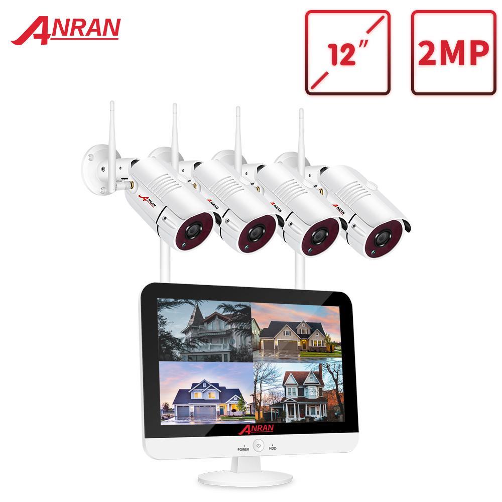 Anran Ev Güvenlik Kamera Sistemi CCTV Video Gözetim Seti 12 inç Monitör NVR Kitleri 1080 P HD Açık Gece Görüş Wifi Kamera LJ201208