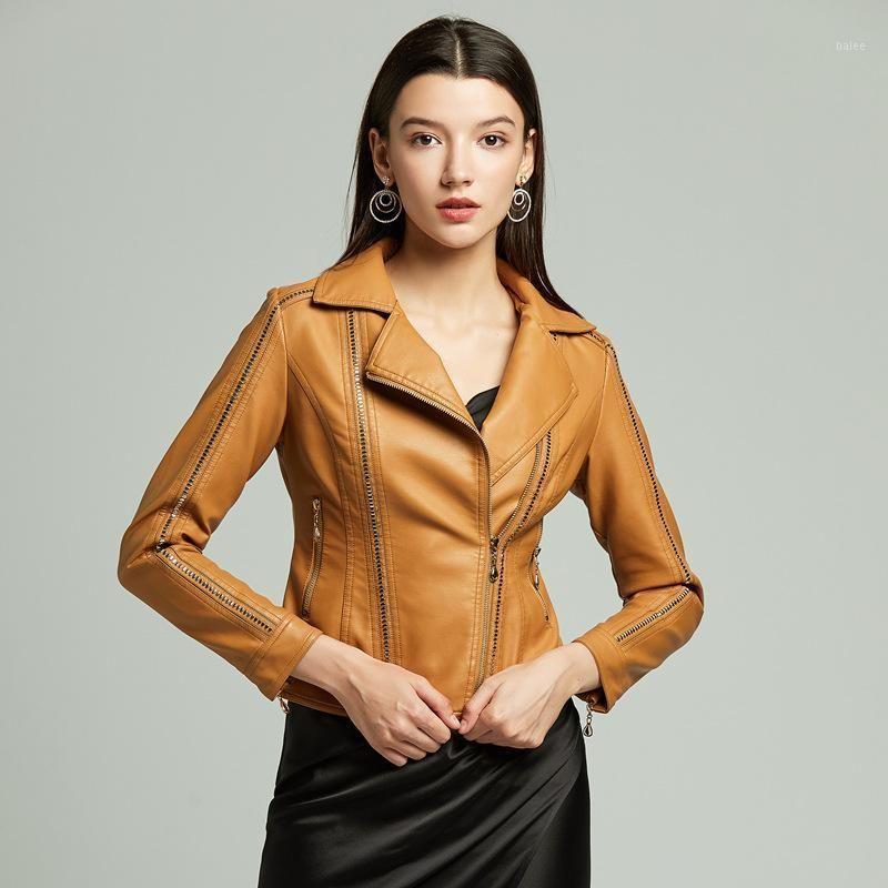 Women PU Leather Jacket Autumn 2020 Long Sleeve Zipper Turn-Down Neck Faux Leather Jackets Womens Black Coats Biker Jacket1