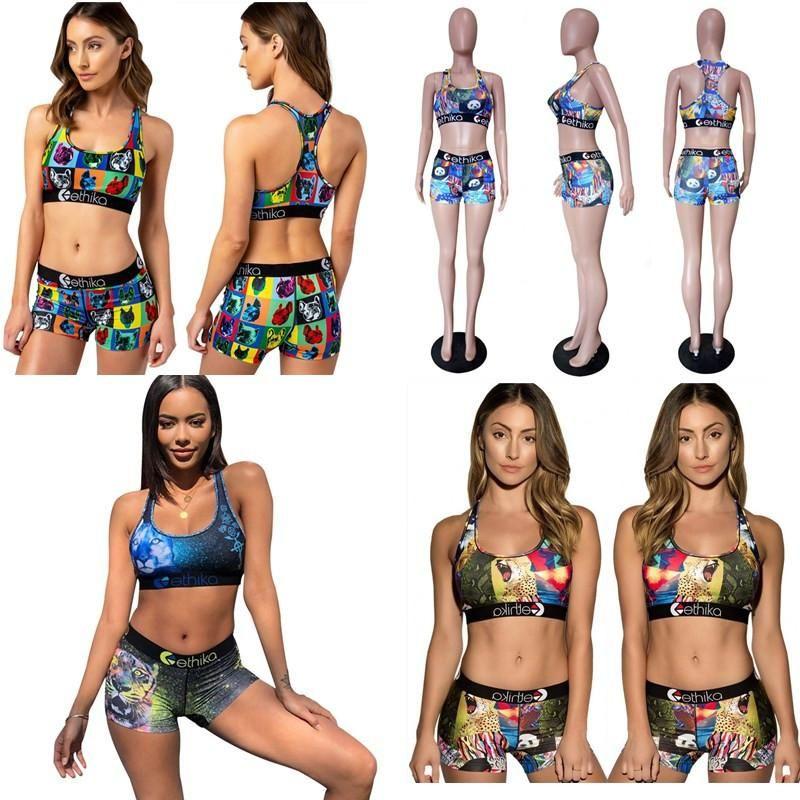 Frauen Cartoon Bademode Strand Tankinis Tier Farbblock Badeanzug Sexy Push Up BH Weste Shorts 2 Piecs Bikini Set ACOSG