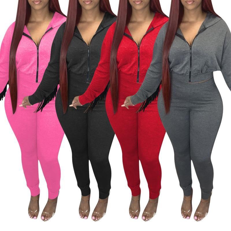 Kadın Eşofmanlar 2021 Sonbahar / Kış Giyim Seti Geri Püskül Fermuar Kapşonlu Üst Ve Pantolon Tatil Parti Spor Spor Fitness Için İki Parçalı Suit