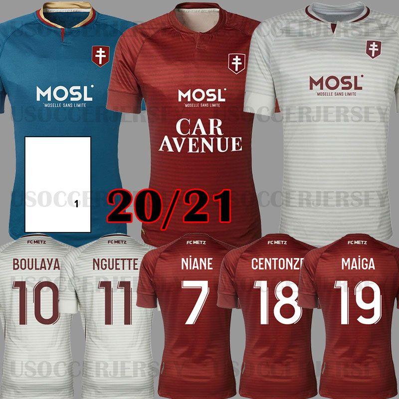 Mailleot De Foot 20 21 FC Metz Soccer Jerseys 2020 2021 Boulaya Diallo Centerze Bron Vagner Niane Fofann Vagner Home Football Shirt تايلاند