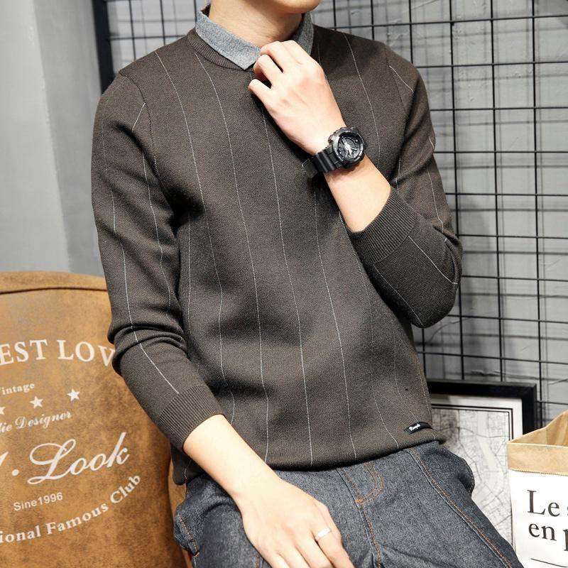 Hombre de estilo coreano suéteres ocasional de moda suelto crewneck jersey hombre de gran tamaño suéteres tirón HIVER Hombre Ropa DB60my