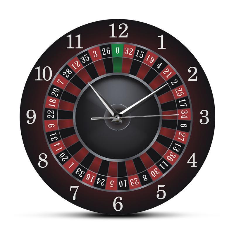 Poker Roulette Wanduhr mit schwarzem Metallrahmen Las Vegas Spiel-Raum-Wand-Kunst-Dekor Zeitmeßgerät Taktgeber-Uhr-Casino-Geschenk