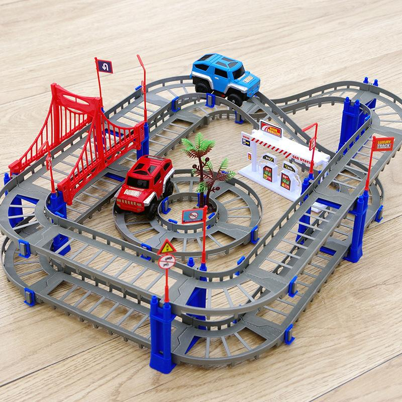 Free Shipping track car Electric rail train toy rail car creative assembly electric train car sets children's toy gifts