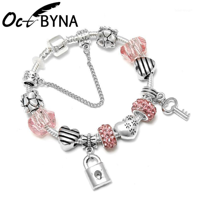 OCTBYNA Romantik Aşk Gümüş Renk DIY Charms Bilezik Aşk Kalp Anahtar ve Kilit Marka Bilezik Bilezik Kadınlar Takı Gift1