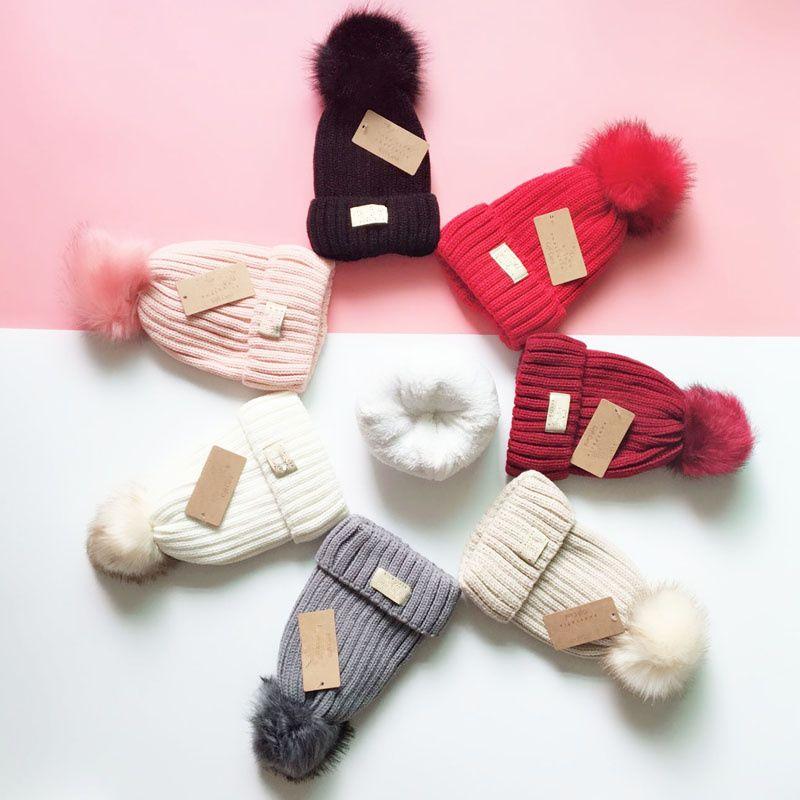 Зима Австралия дизайнер вязаные шляпы меховые помпоны шапочки теплые флисовые крючком шляпа женские девушки черепные колпачки вязание толстая крышка капота открытый шанс