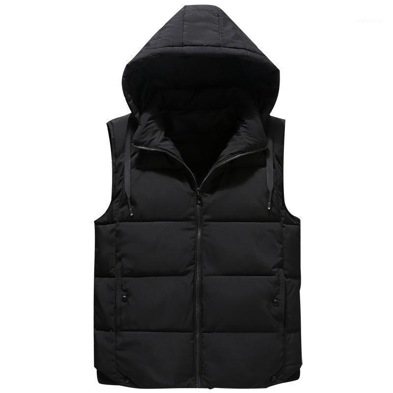 Chalecos de hombres más tamaño grande 7xl hombres chaleco invierno sombrero chaleco desmontable abrigo chaqueta sin mangas descargando parka abrigo para hombres1