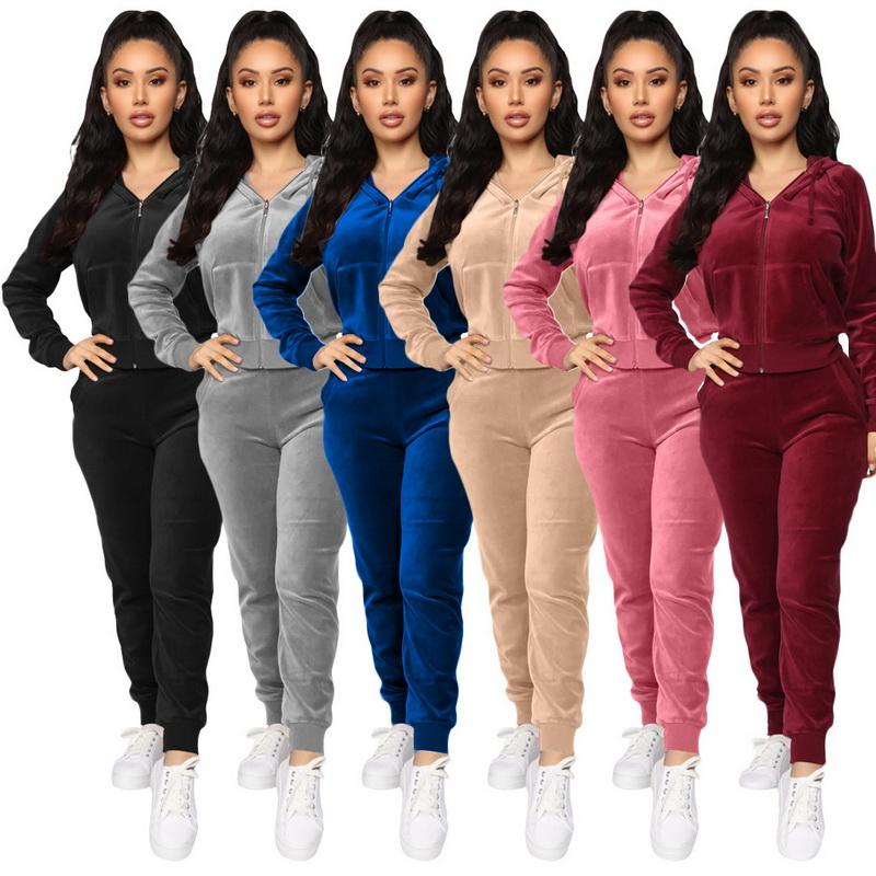 Women Velvet tracksuits Hooded Sweatshirt Pants Running Sport Track suit 2 Pieces jogging sets femme clothing Four Different Models With Many Colors