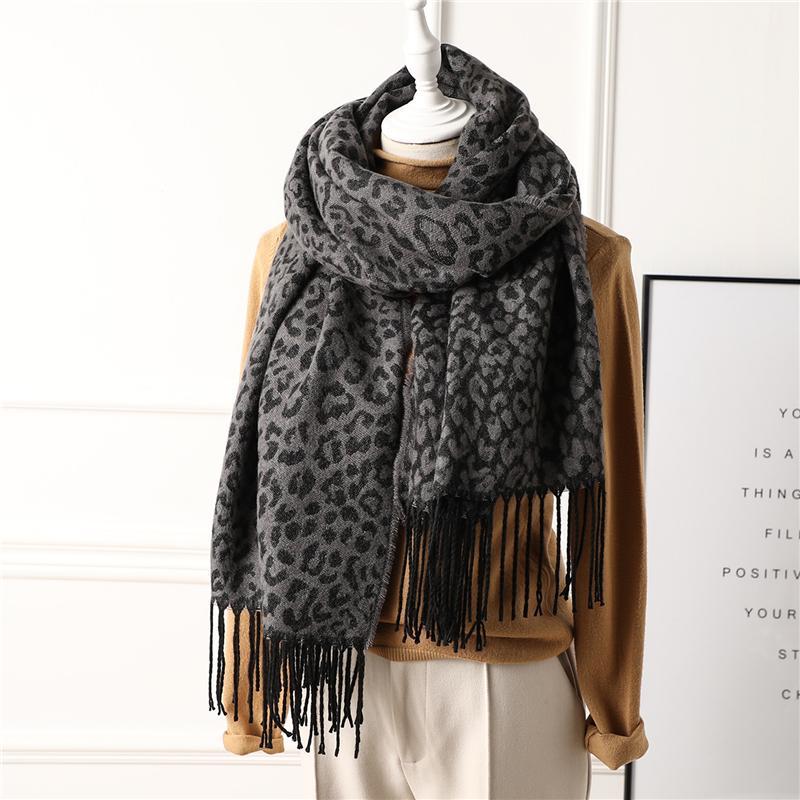 Мода Новый стиль леопарда Print женщин шарф зимние теплые кашемировые шарфы леди вязаные шали follard женские шеи pashmina 201119