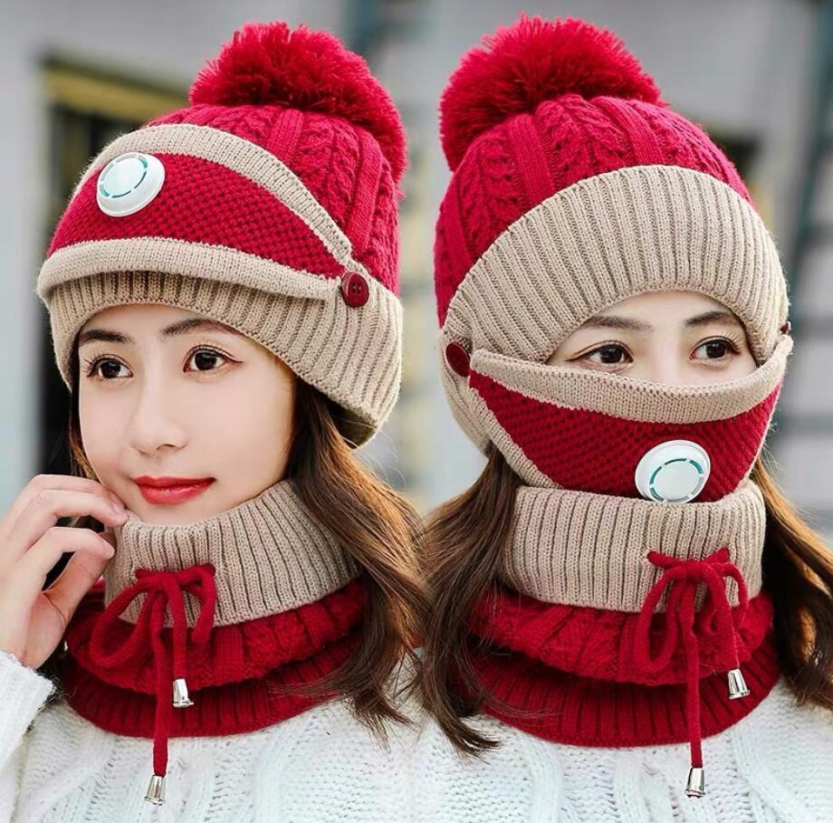Sombreros de punto Máscaras Bufanda Juego 3 unids / conjunto invierno al aire libre pompón gorros con máscaras de válvulas bufandas conjuntos de gorras Ski Sombrero de cálido Fiesta Suministros ZY21