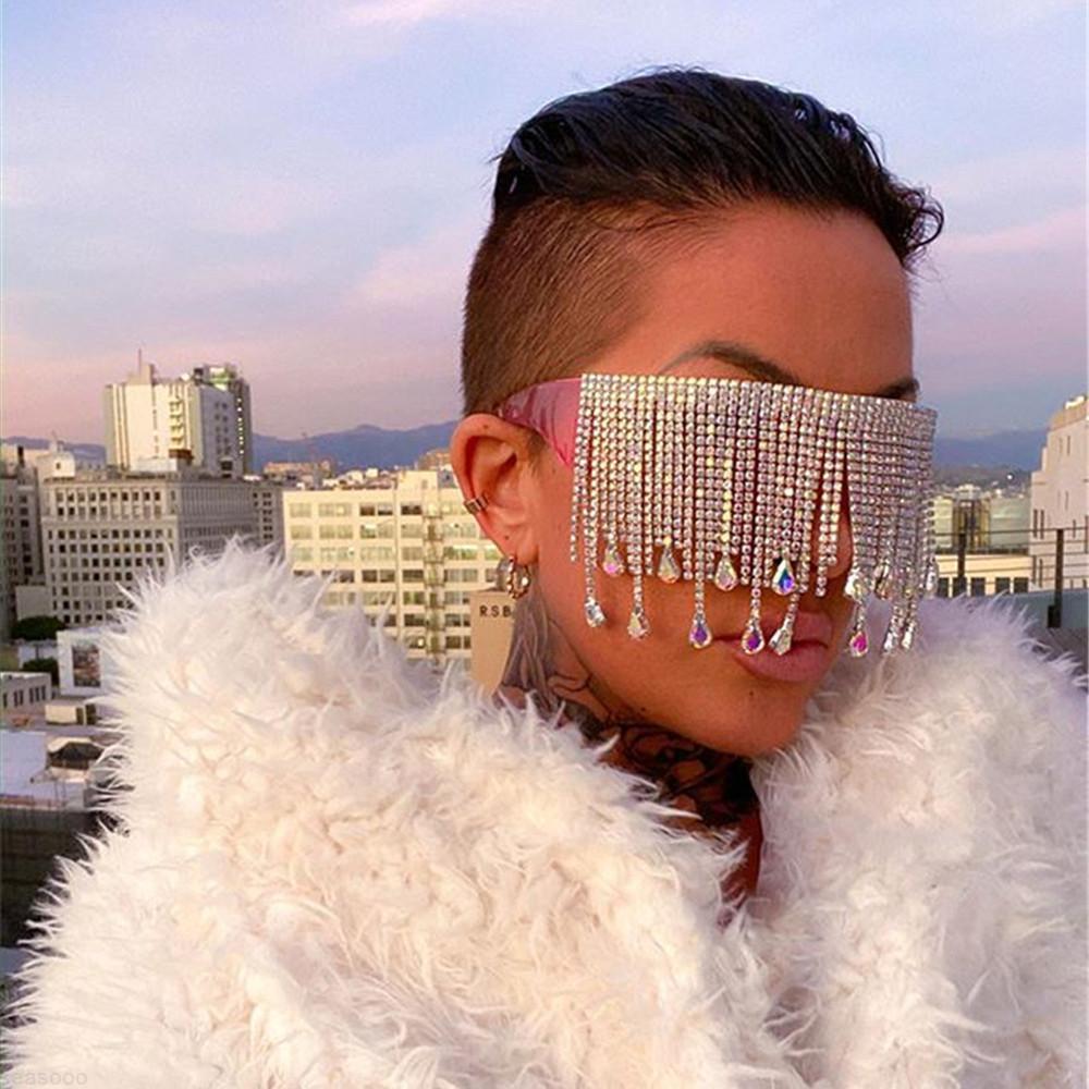 Eyeeglass Exagerada Mujeres Decoración Gafas de sol Joyas Rhinestone Colgante Pelada Mascarilla Bling Crystal Face Gafas de sol Cubierta para DQFNC UXMH
