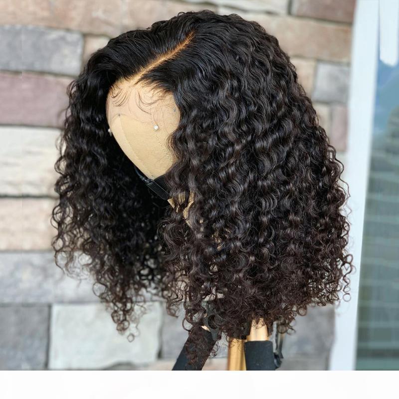 13x4 Dentelle Front Human Cheveux Perruques Kinky Wave perruque Courbée Bob Bob Perruque 150% Remy Cheveux Brésiliens Pour Femmes Pre Shoved Rosa Rosa