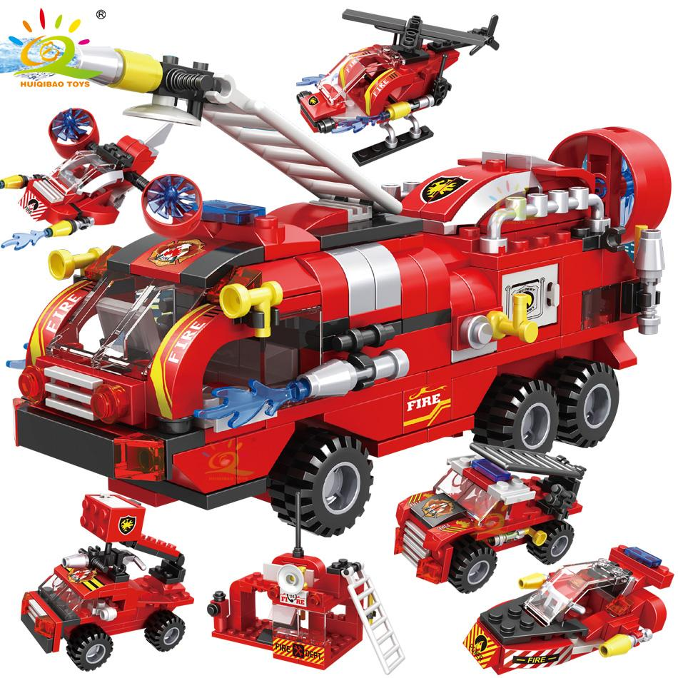 HUIQIBAO 387pcs 6in1 Fire Fighting Trucks Car Helicopter Boat Building Blocks City Firefighter Firemen Figures Bricks Toys Child Y1127
