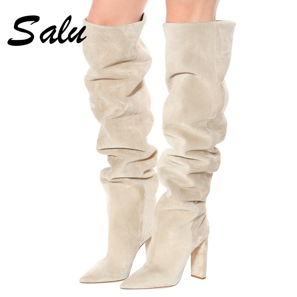2020 Women Faux Suede Over The Knee High Slouchy Boots Pointy Toe Chunky Heel Slouch Long Boots Ladies Winter Heeled Shoes LJ201130