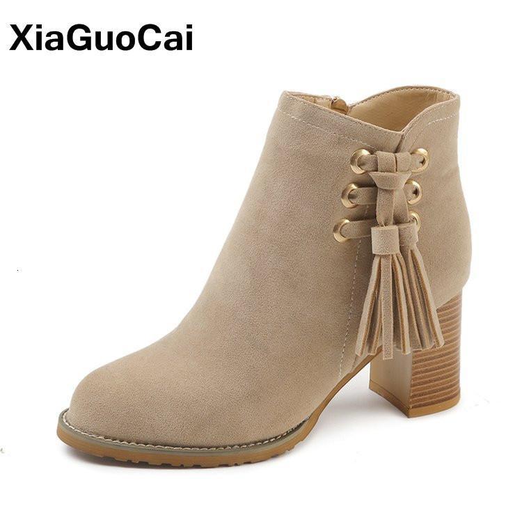 Весна осенние сапоги женщины кисточка высокие каблуки женская обувь стая кожаная женская лодыжка сапоги мода нескользящая высокое качество