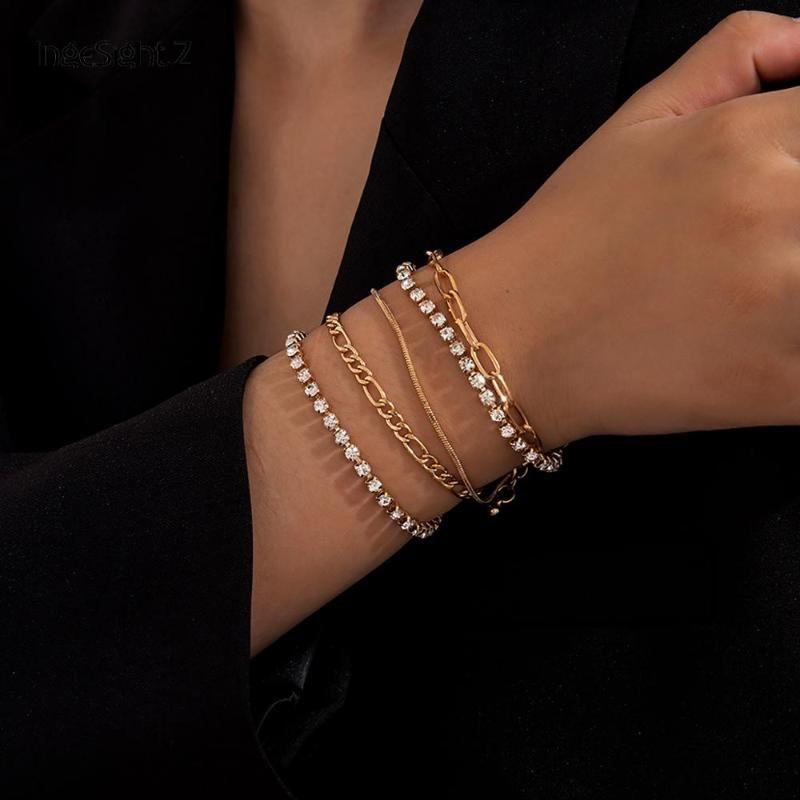Ingesight.z 5pcs / Set Braccialetti di cristallo di strass Braccialetti Braccialetti per le donne Charm Gold Color Snake Catena Braccialetti Gioielli da polso