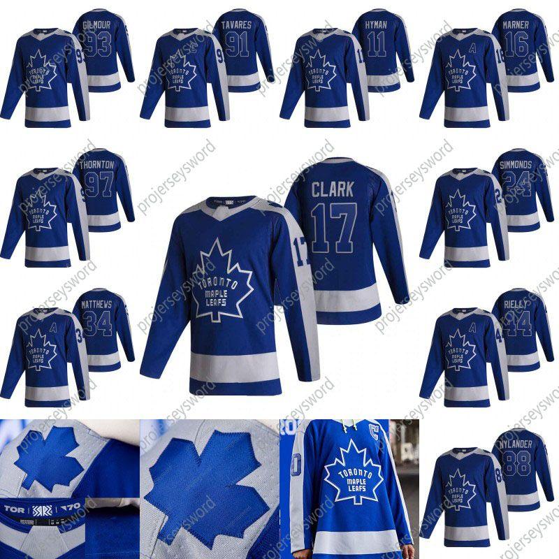 Toronto Maple Leafs Wendel Clark 2020-21 Ters Retro Hokey Jersey Zach Hyman Mitchell Marner Auston Matthews William Nylander Jake Muzzin