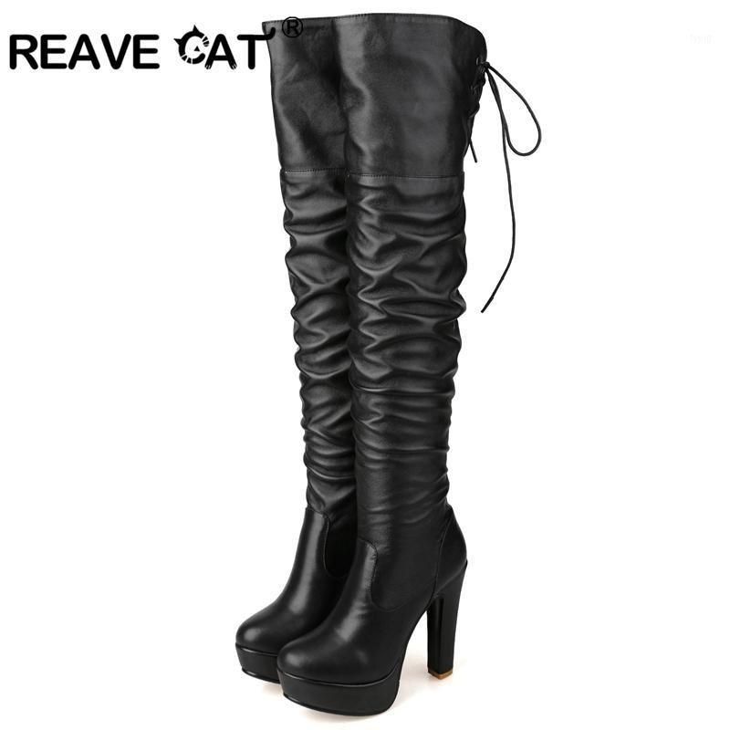 Reape Cat 2020 Hiver Femmes Bottes Bottes Longues Bottes Mince Fête Fête Mode Casual Black Genouillé Chaud Cuir PU Cors Sied A10271
