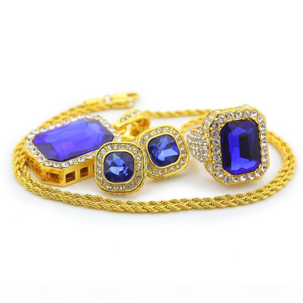 Модные ювелирные наборы для мужчин Женщины Рубин Подвеска Красочные Серьги Позолоченное кольцо Hip Hop Очарование Ожерелье