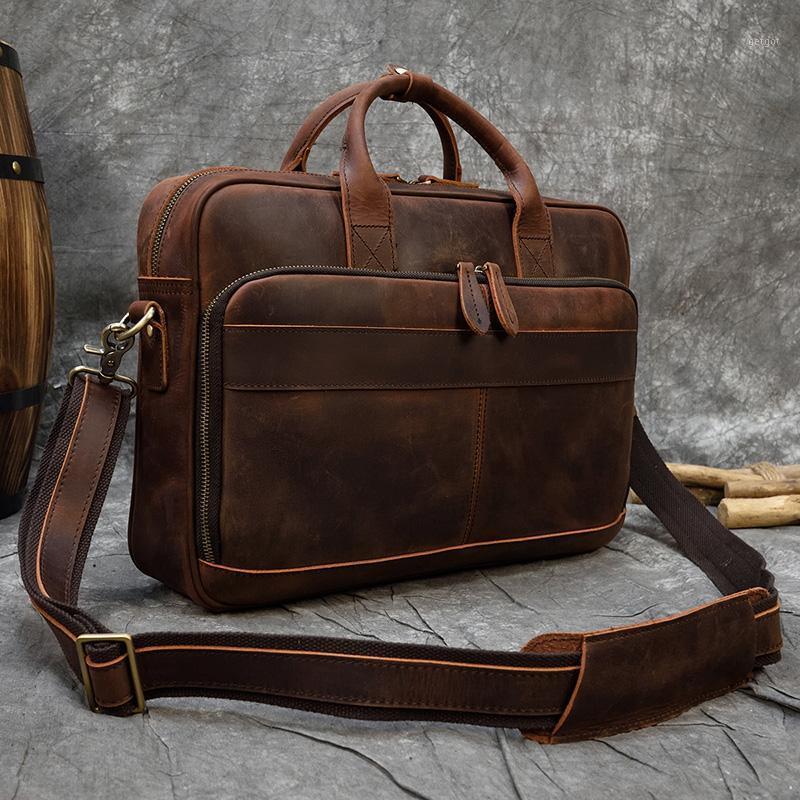Retro Laptop Aktentasche Tasche Echtes Leder Handtaschen Casual 15.6 Pad Bag Tägliche Arbeitstasche Taschen Männer Männlich für Dokumente1