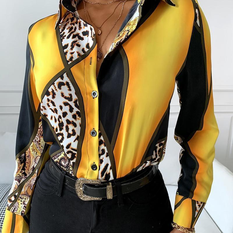 Frauen Casual Slim Sexy Leopard Gedruckt Revers Buttons Langarm Hemden Blusen Damen Herbst Business Workwear Werk Tops