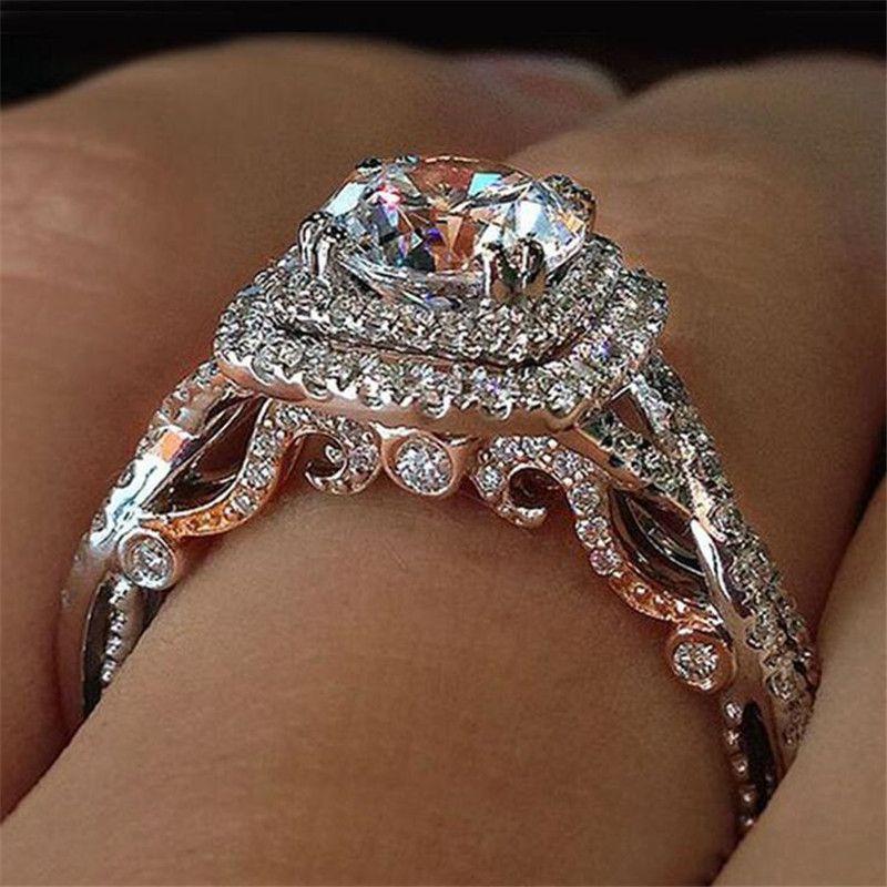 Старинные ювелирные изделия моды 925 стерлингового серебряного серебряного золота заливают круглый разрез белый топаз CZ алмазные драгоценные камни женские свадебные свадьбы кольцо кольцо