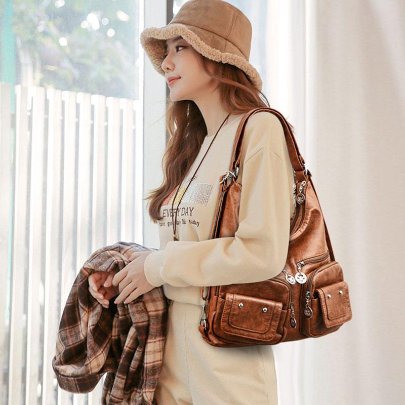 Lether Damen Taschen Handtaschen Frauen Tasche weich 2021 Messenger Schulter weibliche große Luxus Sac ein Hauptdesigner Tote Casual Gldla