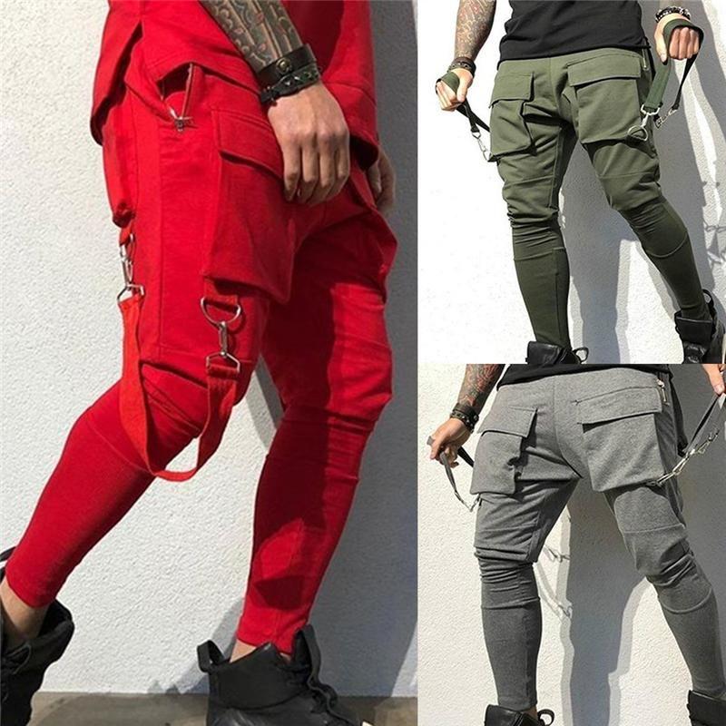 2021 Hombres Streetwear Pants Black Harem Pantalones ligeros Hombres Punk Cintas Casual Slim Jogger Hip Hop Pantalones
