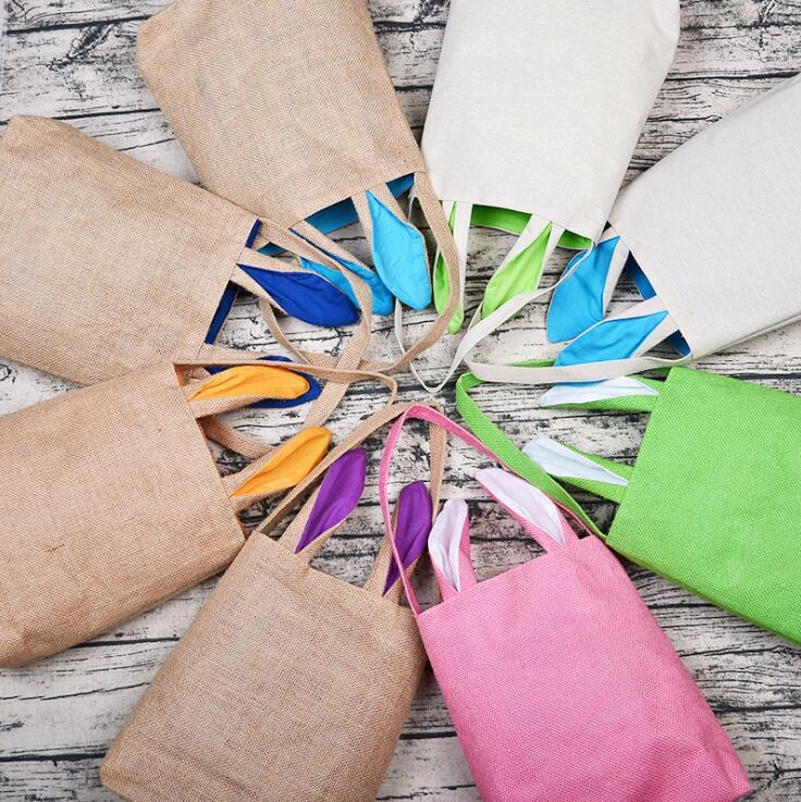 Borsa del coniglietto di Pasqua BARLAP DIY Cestino di Pasqua Tote Borsa 14 colori Dual Layer Bunny Orers Design con materiale di stoffa Juta Zyy259