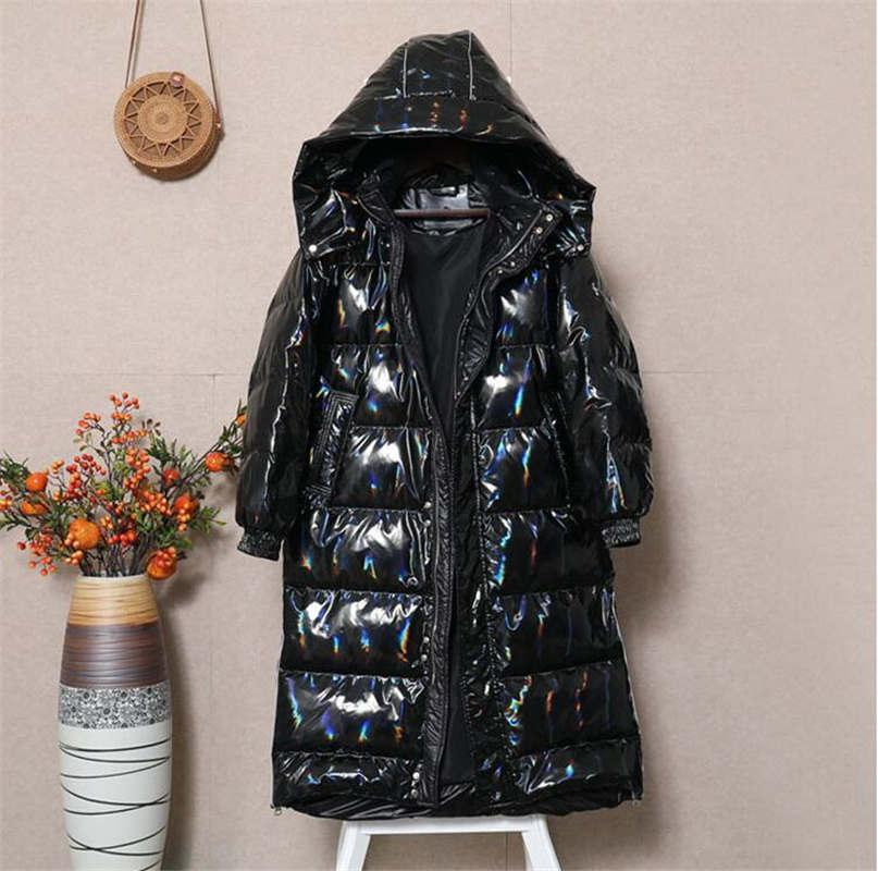20 disposable couple models long trend hip-hop thick down jacket casual all-match leather star with the same paragraph 2 colors