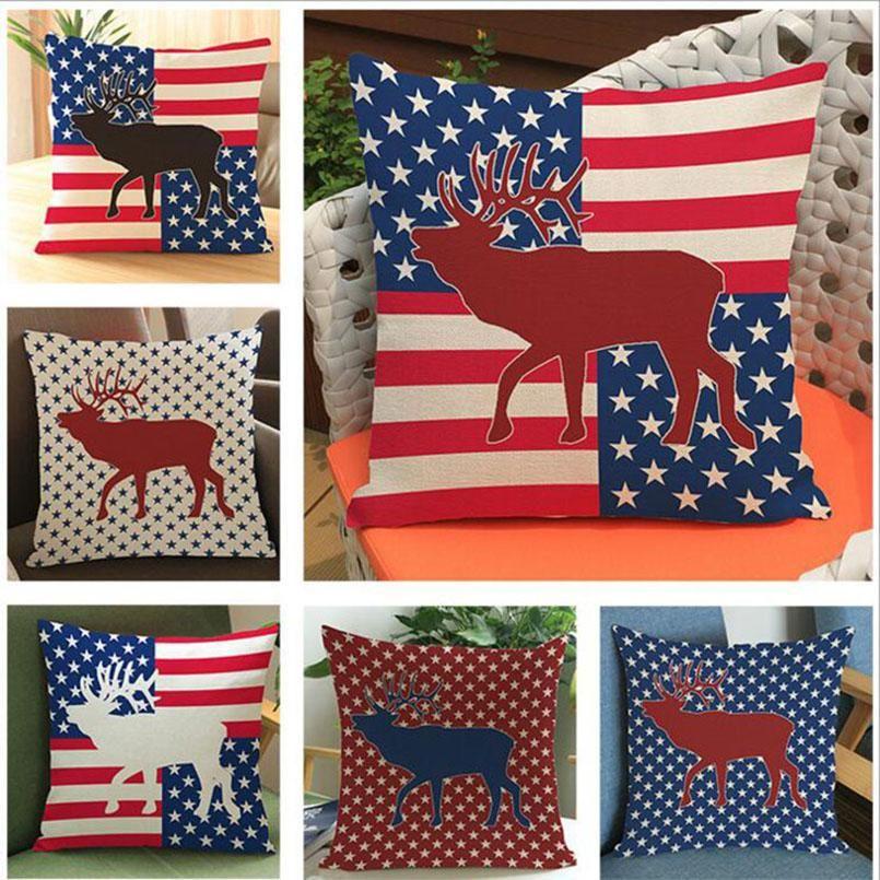 Eco-amigável bandeiras americanas estrelas e bandeira de veado de faixa bandeira impresso poliéster linho impresso fronha travesseiro capa 45 * 45cm 6 cor bwe2520