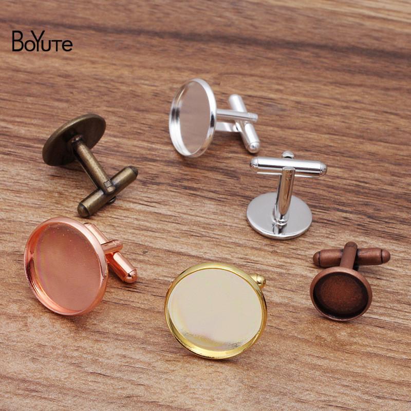 Boyuty (20 pezzi / lotto) Cabochon Base Polsino Link Blanks Vassoio Bellino FAI DA TE Fatti a mano Mens Gemelli Gemelli Accessori per gioielli