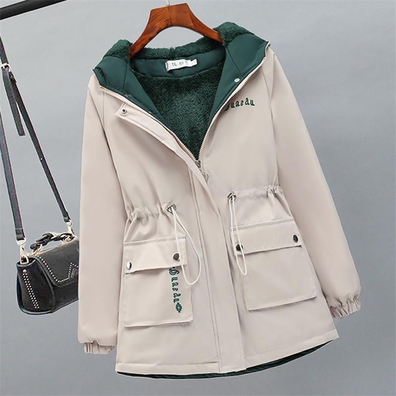 Женщины Флис Parka Новый Густой Зимний Пальто с капюшоном Женская Теплый Письмо Печать Ветровая Куртка Свободные Повседневные Parkas 201211