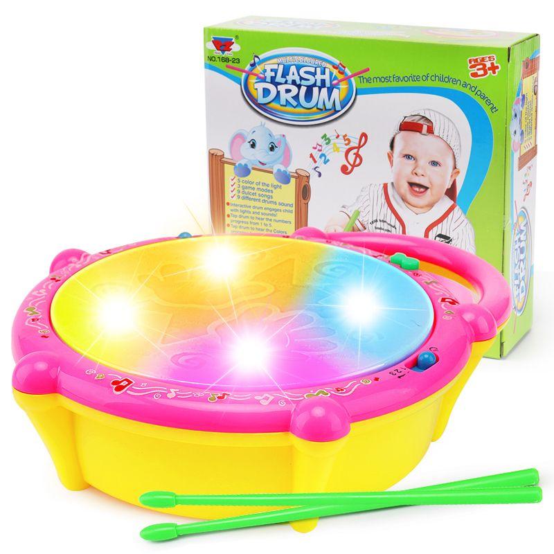 Мини-барабан музыкальный инструмент погремушка для малыша флэш-эндапта ребёнок девочка мальчик игрушка детская кровать колокол мобильная кроватка новорожденного малыша коляска LJ201118