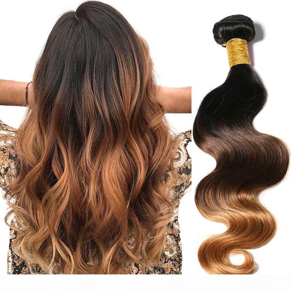 Remy Işlenmemiş İnsan Saç Uzantıları Ombre Brezilyalı Saç Vücut Dalga Ombre İnsan Saç Dokuma 3 4 Demetleri Renk # 1B # 4 # 27 # 30