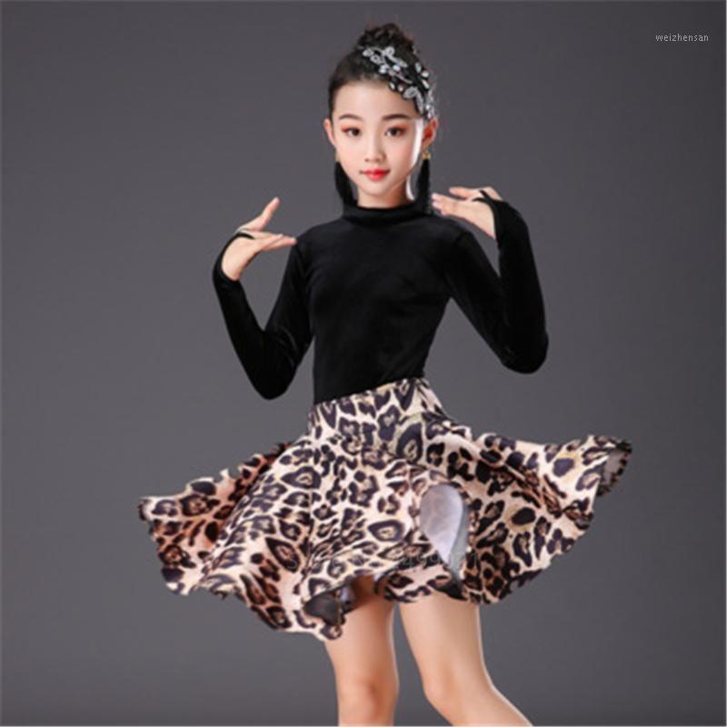 Leopard Imprimir Meninas Latin Dança Dança Vestido de Manga Longa Kids Kids Even Night Ballroom Competição Fase de Performance Tops + Skirt Set1