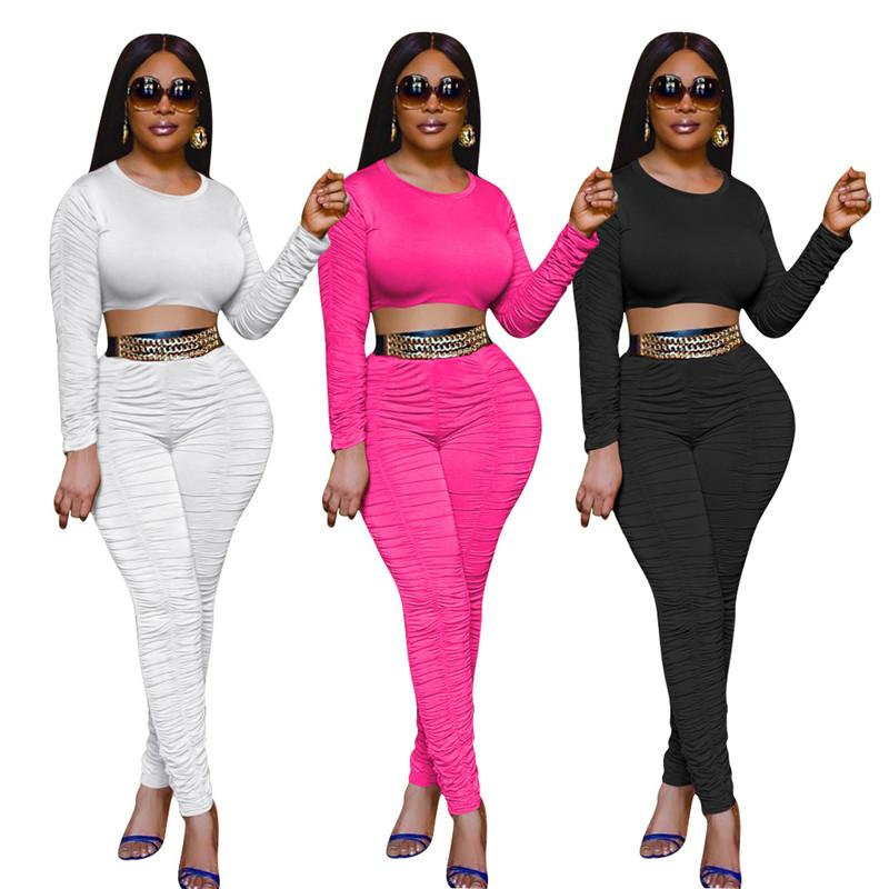 Color sólido para mujer Diseñador de chándales Moda de manga larga de manga larga Pantalones apilados largos para mujer 2pcs Conjuntos Casual Hembras Color sólido Ropa