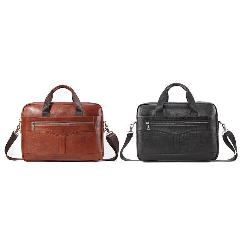 PI Handbag Bag Package Mail Men's Office Leather Bag Business Laptop Men's UNCLE 14-Inch Official Asdwv