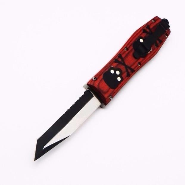 나비 짐승 해골 손잡이 D2 블레이드 더블 액션 사냥 접는 포켓 칼 생존 나이프 Xmas 선물 남성 자동 칼