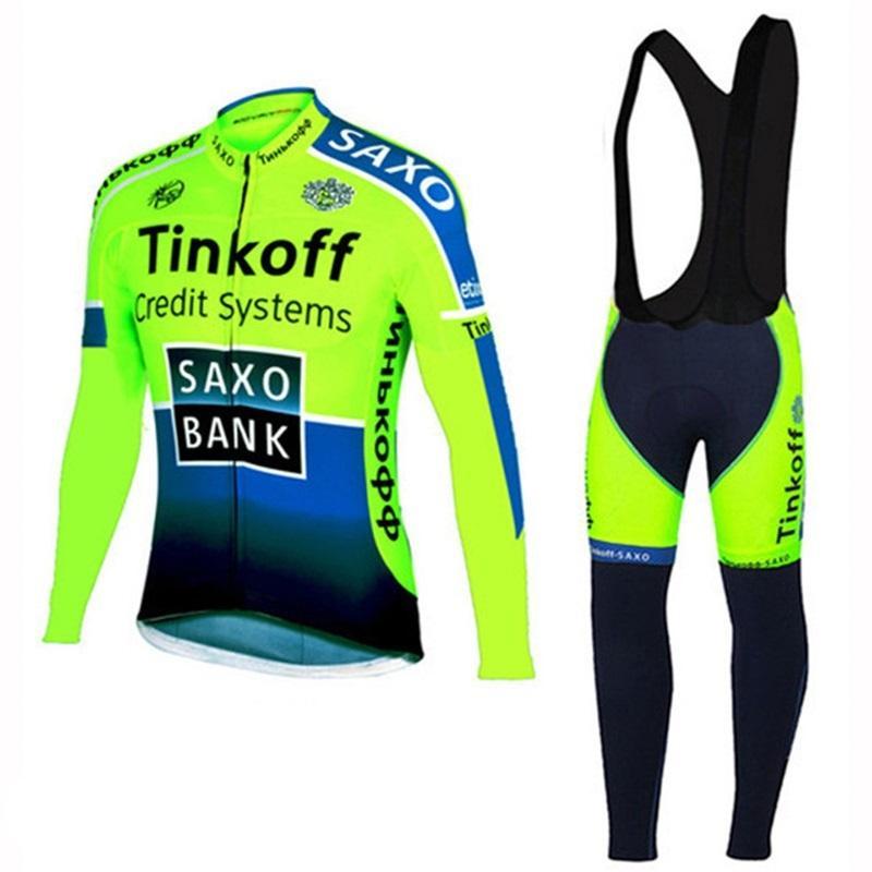 2021 Yeni Takım Tinkoff Saxo Bank Bisiklet Giyim Uzun Kollu Sonbahar Erkekler Bisiklet Formaları MTB Bisiklet Ropa Ciclismo Döngüsü Spor C0123