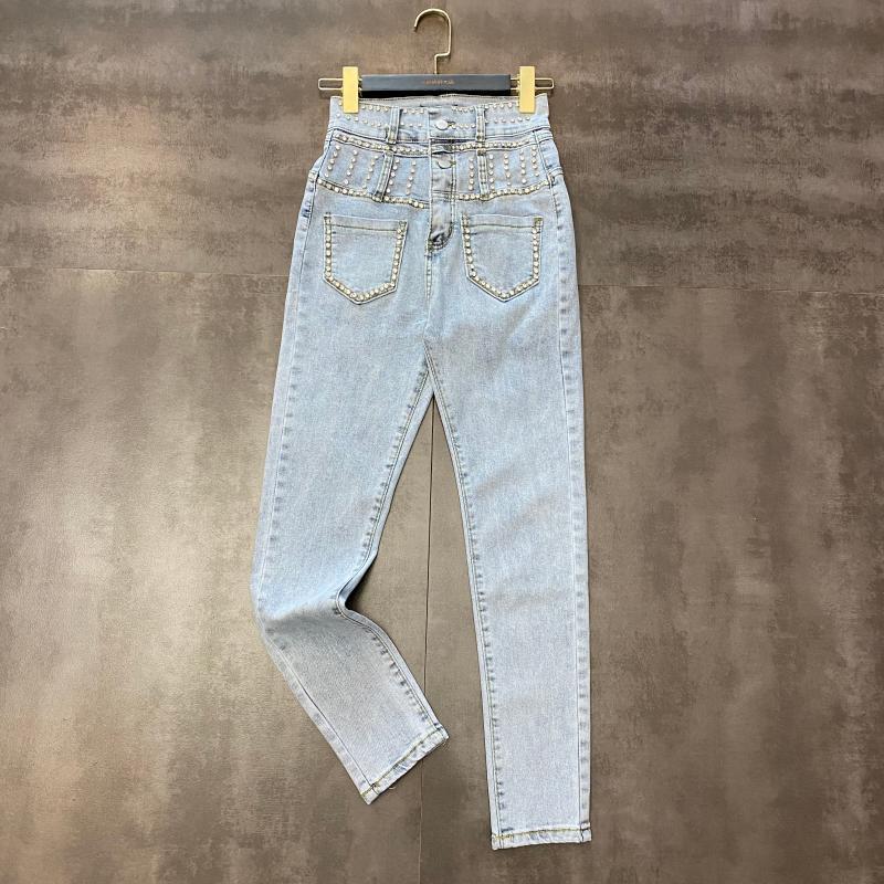 2020 Primavera Nuevo Rhinestone Vertical Cabeza de doble cintura delgada Pantalones de cintura alta delgado Marea femenina