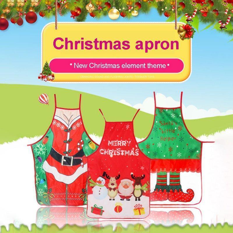Linda dibujos animados navidad delantales impreso cocina delantales cena cena cocina impermeable navidad navidad 20201