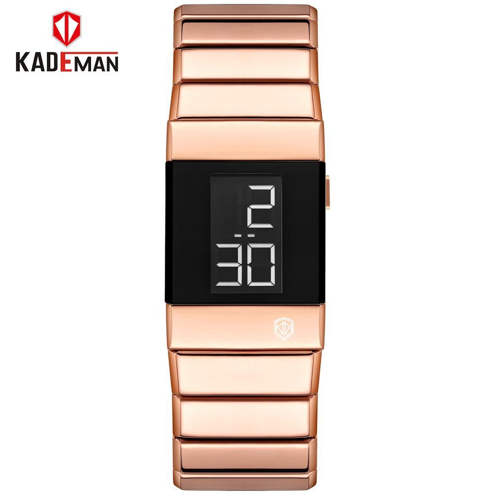 Moda Mulheres Pulseira Relógios de Alta Qualidade Rosa Aço Inoxidável Aço Inoxidável Top Marca de Luxo Digital Sport Watch for Ladies J1205